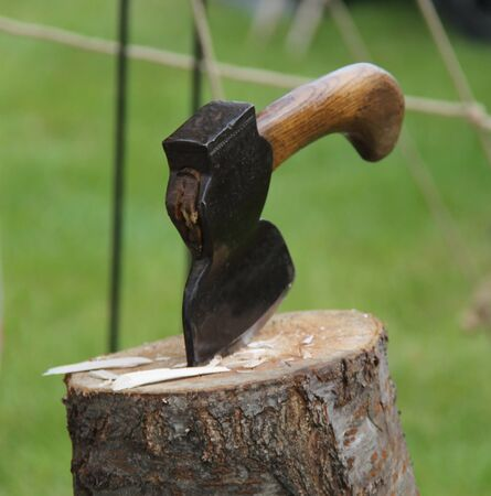 A Traditional Craftsman Hand Axe Embedded in a Log.