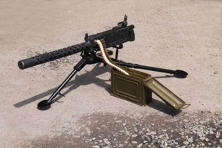 An Army Vintage Machine Gun with Bullet Ammunition.