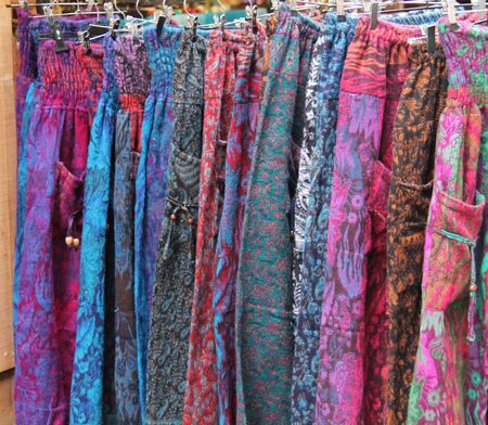 A Display of Elasticated Ladies Coloured Trousers.
