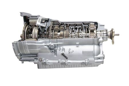 A Cut Away of an 8 Speed Car Hybrid Transmission. Banque d'images