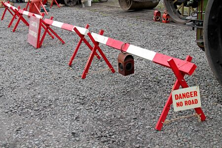 A Vintage Wooden Road Works Safety Barrier.