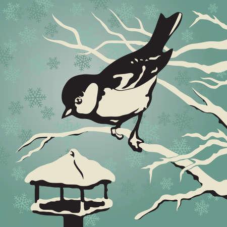 冬のフィーダーの近くの枝に座っているシジュウカラでも  イラスト・ベクター素材