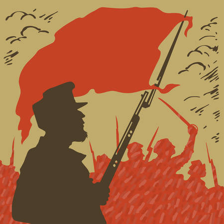 labor strong: armed man with a red flag on a background of revolution Illustration