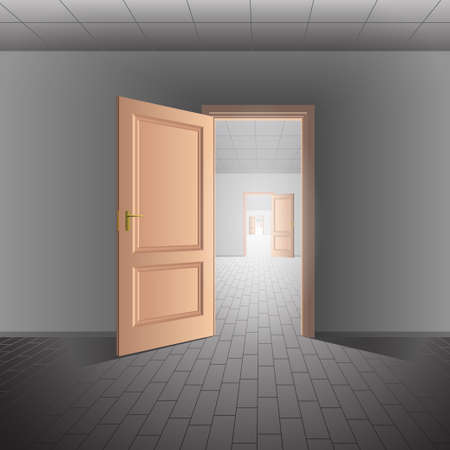 bright future: Open door leads to a bright future Illustration