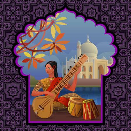 sari: Indian girl playing sitar near Taj Mahal