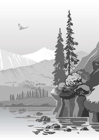 rock formations: beautiful grayscale mountain landscape