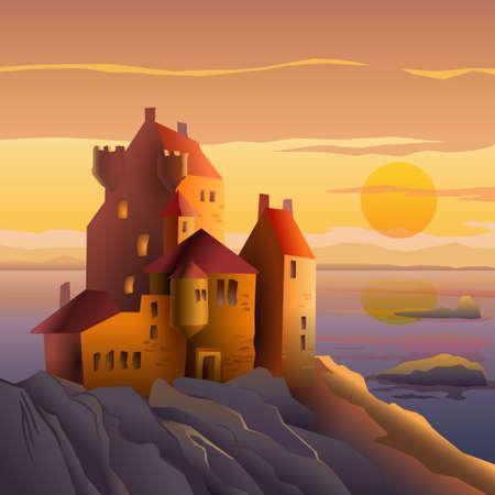 夕暮れの海岸の城