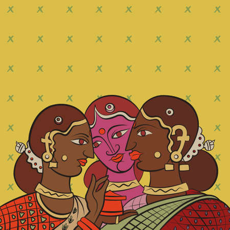 tribal woman: Indian girls gossiping after collecting tea