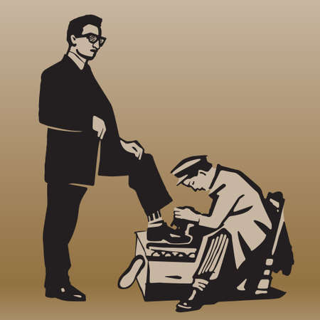 respectable: Boy cleans shoes to respectable man