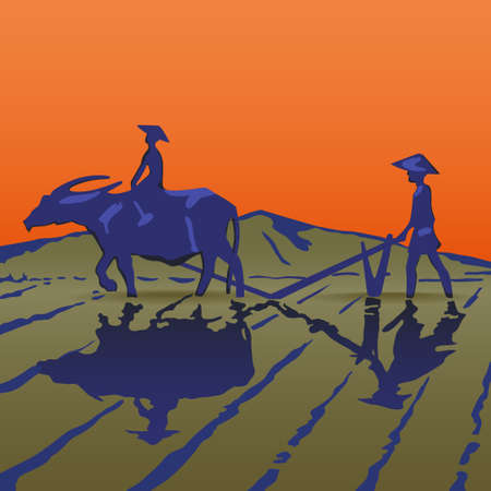 Asian peasants work on a rice plantation Illustration