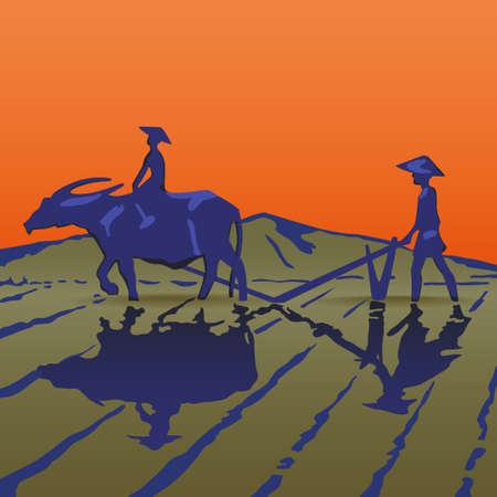 viet nam: Asian peasants work on a rice plantation Illustration