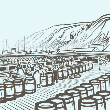trawl: People packing fresh fish at the fish factory outdoors in Iceland monochromatic retro illustration