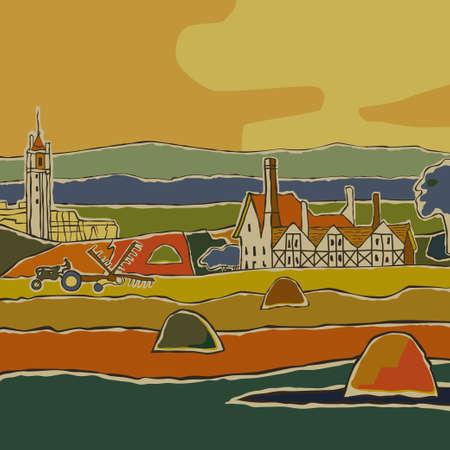 rick: Colorful summer rural European landscape illustration