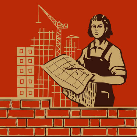 construction background: Female worker holding blueprints on construction background