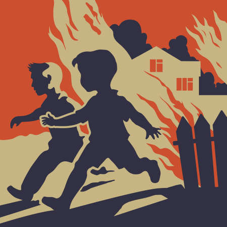 burning house: Children running away from fire flames