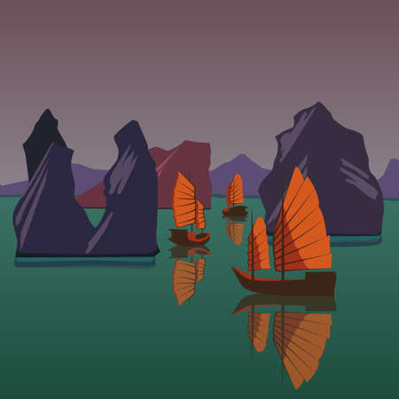 Junks floating on the Andaman Sea vector illustration Illustration