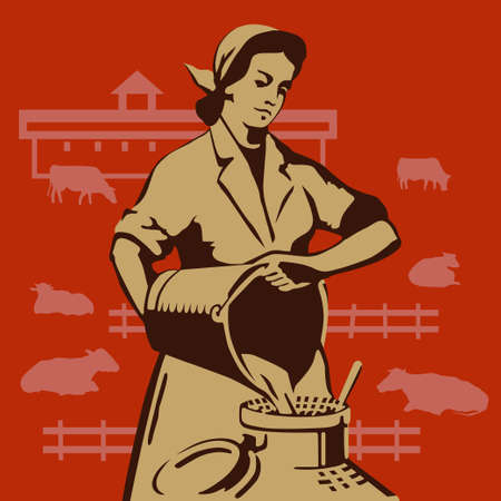 Soviet milkmaid pouring buckets of fresh milk in cans vector illustration Illustration