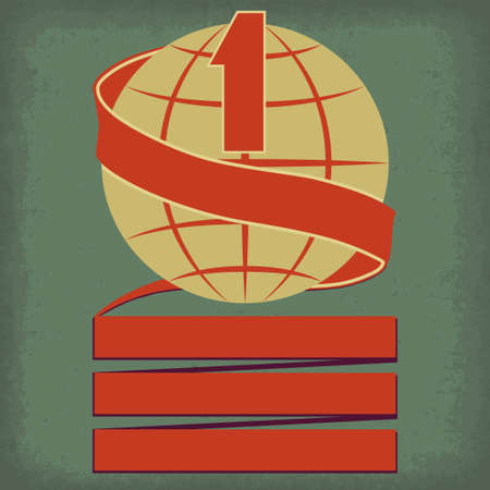 Worlds number one symbol with planet earth and red ribbon retro illustration
