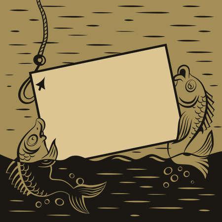 poacher: Fishes keep the framework for advertising retro illustration