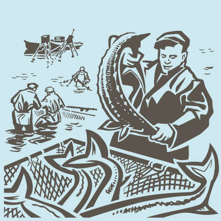 fisherman boat: Fishermen at sea take fish through the seine Illustration