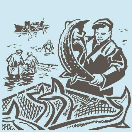 pescador: Pescadores en el mar capturan peces a trav�s de la red de cerco Vectores