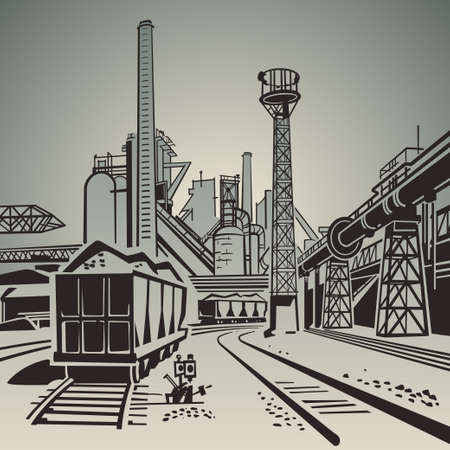 soviet: Soviet industrial landscape with railway wagons and pipes and towers illustration Illustration