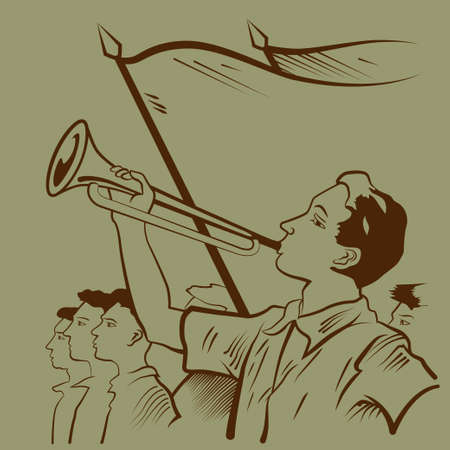 Boy playing trumpet during celebrations illustration Vector