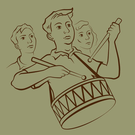 Young soviet drummer on parade vector illustration