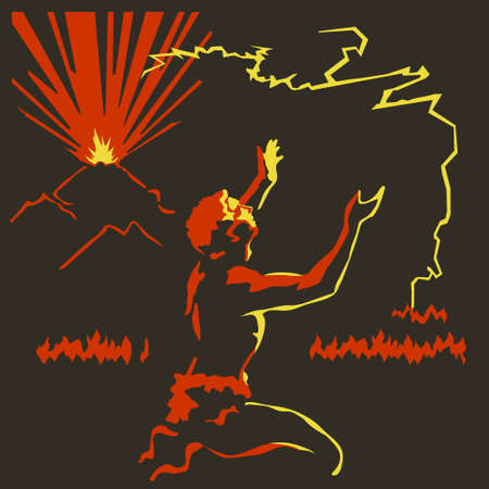 worshiping: Primitive man worshiping to fire appeared out of the volcano