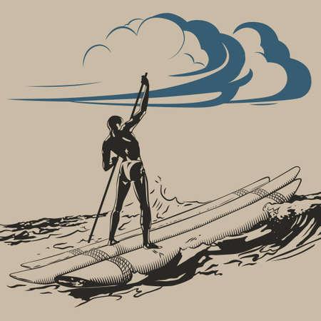 aborigine: Aborigen en balsa flotante en la ilustraci�n de las olas del mar vector Vectores