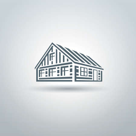 log cabin: Rural wooden slavic house on white background