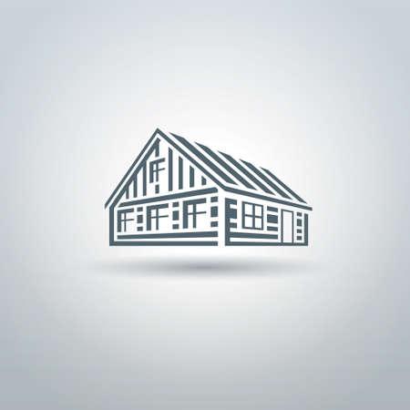 log cabin: Rural wooden slavic house on white background