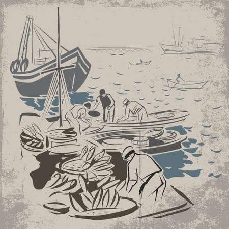 成功した釣り船の荷を下すことの後漁師