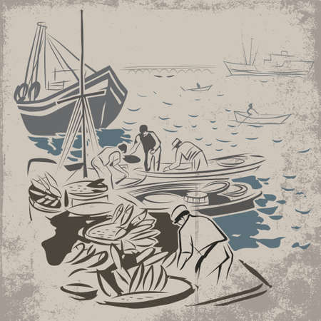 Fishermen after successful fishing unloading their boats Illustration