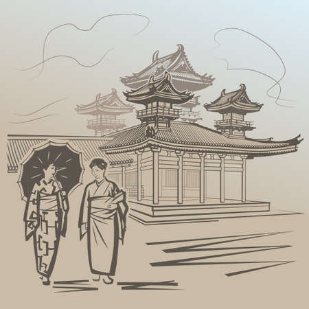 Japanese girls walking near temple in Japan Illustration