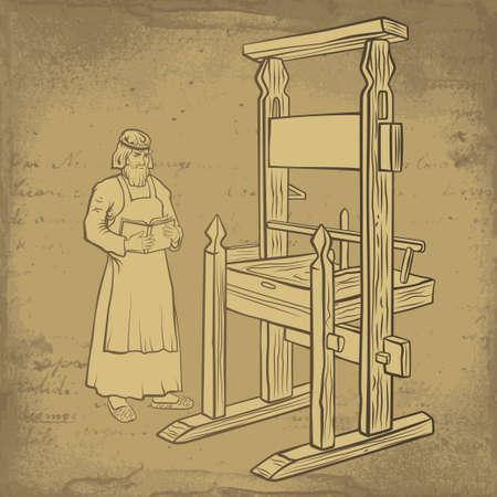 中世のプリンター印刷機近く専用の予約を保持しています。  イラスト・ベクター素材