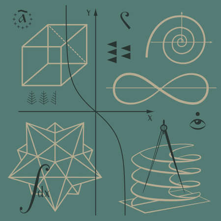 mathematical symbol: Mathematical functions and geometric shapes vector background