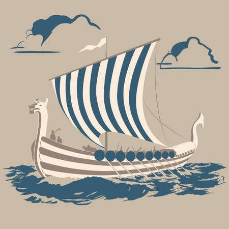 新しい土地を征服する海を渡るノーマン船  イラスト・ベクター素材