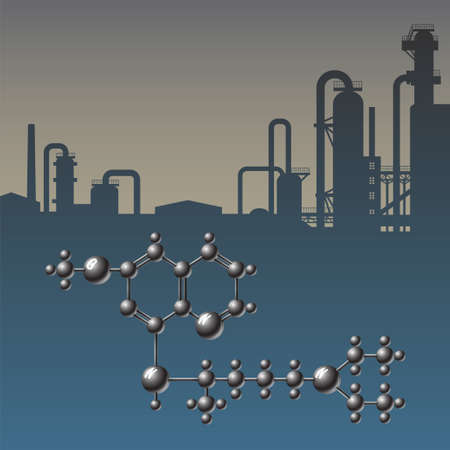 industrial complex: Complex chemical scheme of molecules on industrial background vector illustration