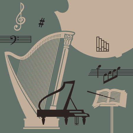 楽器と標識レトロな背景をベクトルします。  イラスト・ベクター素材