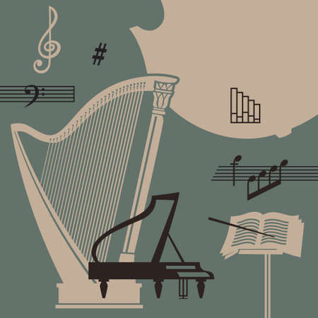 Musical instruments and signs vector retro background