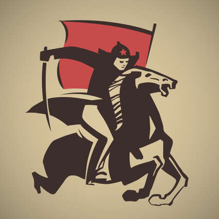 onslaught: Red Army man with saber and flag galloping on horse vector illustration