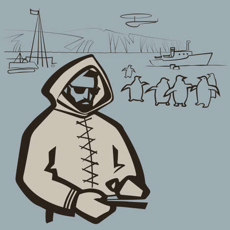 Polar explorer engaged in research on the background of the Arctic landscape