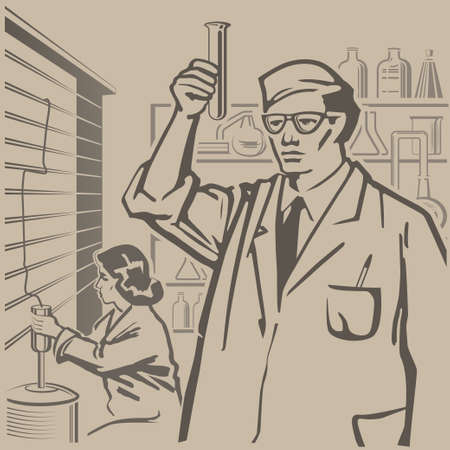 conducting: Chemists conducting research in the laboratory retro illustration Illustration