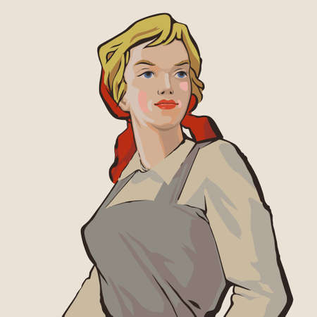 Blue-eyed russian young working girl retro illustration
