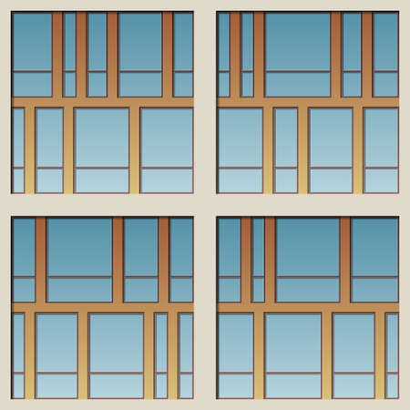 glazing: Architectural glazing of modern building seamless vector pattern