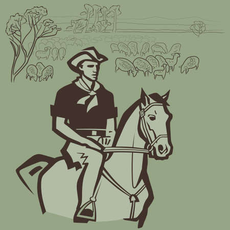 herdsman: Cowboy herding sheep on the prairie vector illustration Illustration