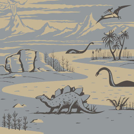 jurassic: Prehistoric landscape with carnivorous dinosaurs and ancient plants vector illustration