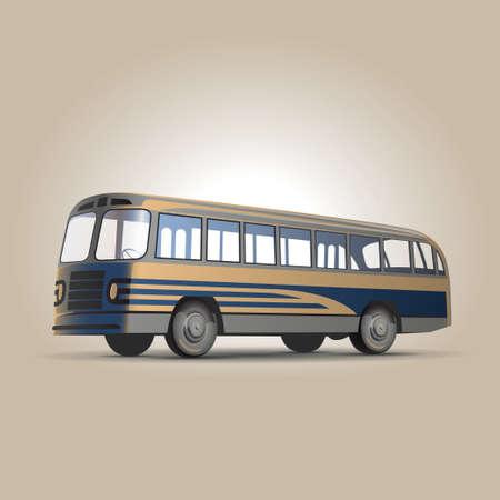 tour bus: Old-fashioned Soviet city bus retro vector illustration Illustration
