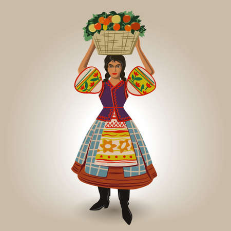pannier: Girl in national costume holding basket of fruit on her head vector illustration Illustration